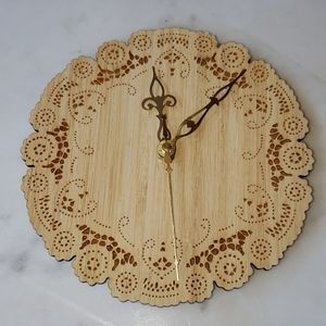 Uncommon handmade wood etched doilie clock
